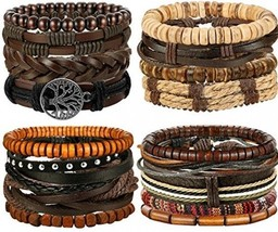 FIBO STEEL 17 Pcs Leather Bracelet For Men Women Woven Cuff Bracelet Adj... - $37.92