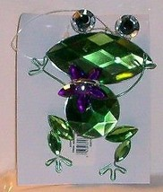 """Frog Holding Jeweled  Blue Center Stone 4"""" Tall/ 3"""" Loop Ornament - $7.10"""