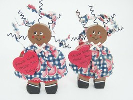 Wooden Cut Out Figurines House Work Makes You Ugly Set of 2 Spiral Hair ... - $13.85