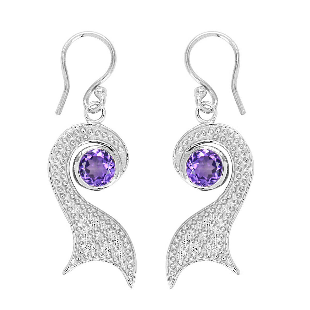 Unique Design Handmade Fashion Peacock Jewel Natural Amethyst 925 Silver Earring