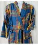Vintage 50s 60s Mens Plaid Cotton Robe Size L Pockets Tie Belt Smoking Lounge TV - $85.14