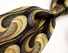 COCKTAIL COLLECTION Gold/Black SWIRLS  Mens 100 SILK Necktie   8-824 - $15.99
