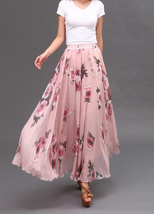 FLORAL Chiffon Long Skirt Dusty Blue Flower Silk Chiffon Skirt Summer Wedding  image 15