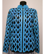 Plus Size Ice Baby Blue Leather Leaf Jacket Women All Colors Sizes Real ... - $150.00
