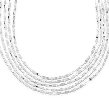 Primary image for Lex & Lu Sterling Silver 5 Strand Fancy Flat Link Necklace 17""