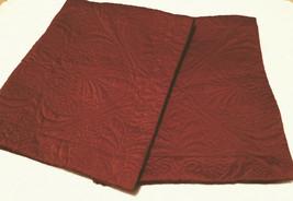 Fieldcrest Luxury Rust Quilted Sateen Queen Pillow Shams (2) Dark Cinnamon  - $23.75