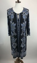 Sandra Darren Womens Dress 14 Blue Floral Print Shift Keyhole Scoop Neck A3-05P image 2