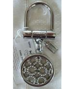 Coach Signature Pierced Pave Padlock Handbag Charm Key Fob Keychain 9295... - $49.00