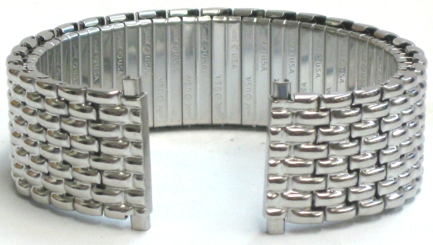 Primary image for 18-22mm Speidel Stainless Steel Silver Tone Twist-o-Flex Stretch Watch Band