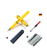 Lamy Safari Yellow Fountain Pen F Nib Set with Free Converter + 5 black ... - $26.10