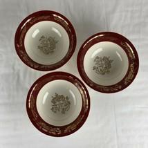 Homer Laughlin Eggshell Cavalier Red Band Gold Floral Set (3) Serving Bowls 1955 - $89.10