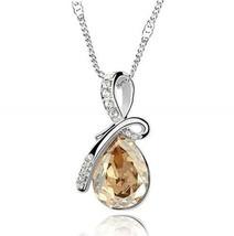 18K White Gold Plated Necklace w/Teardrop Swarovski Crystal - add a 2nd ... - $5.93