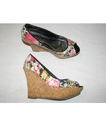 "8 M BAMBOO Ladies Shoes Cork Wedge High 5"" Heels Stilettoes Floral Black... - $24.99"