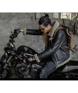 Designer genuine leather Handmade Man brown Fur Shearling Men Leather Ja... - $749.99