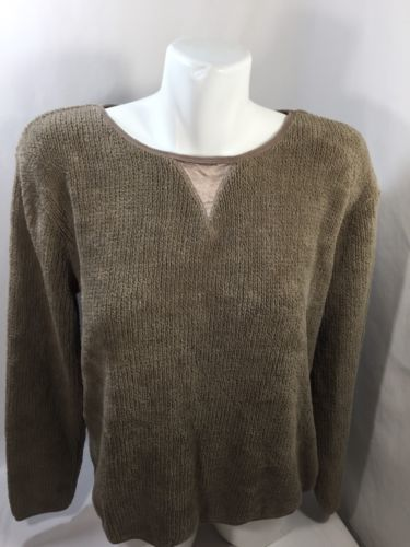 Chadwicks Women Crew Neck Scoop Neck Long Sleeve Brown Regualr Fit Warm Size M - $14.03