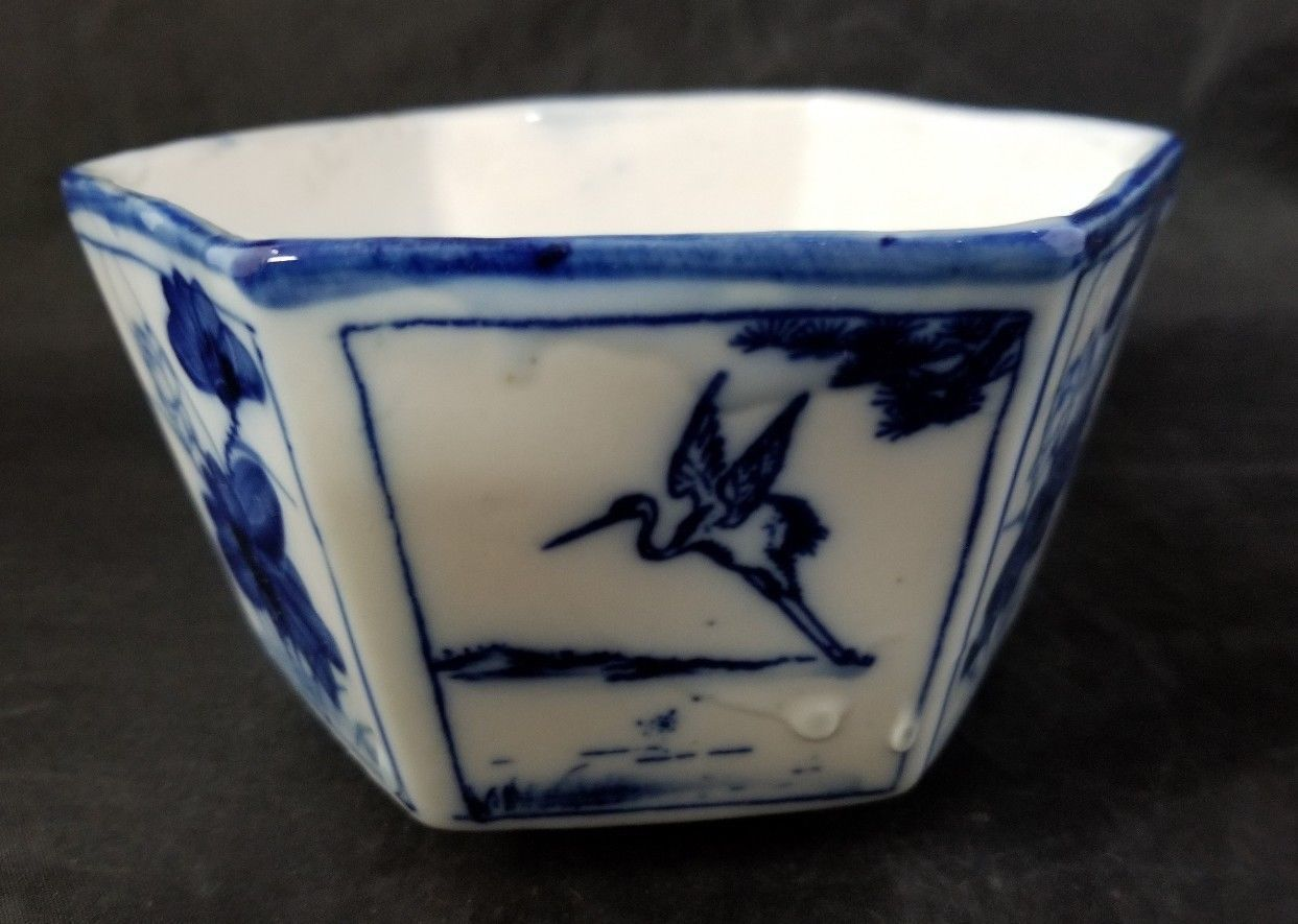 "Blue & White Asian Pentagon Bowl Flowers Crane 4.5""×2.75"" Rice Bowl"