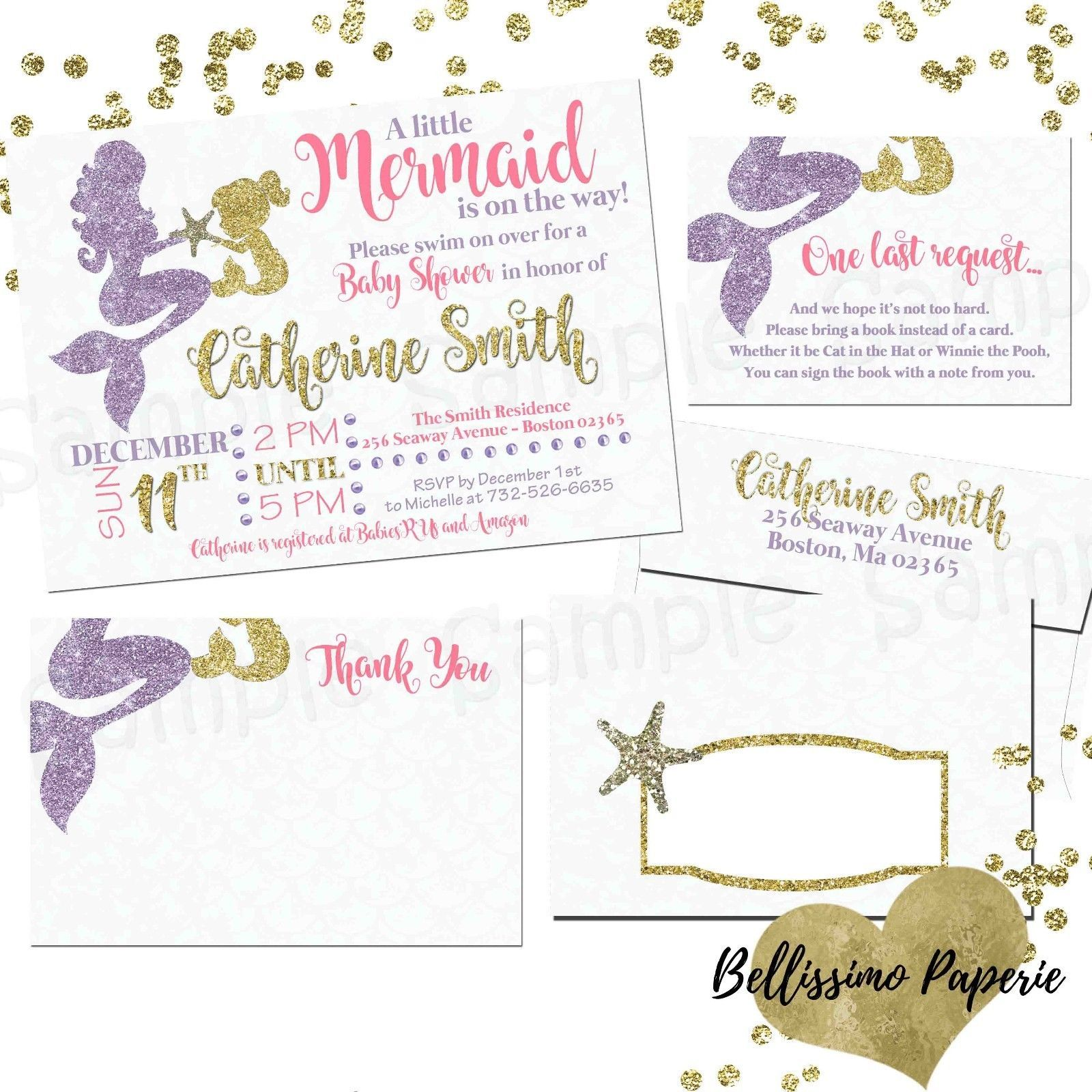 Pink Purple Gold Glitter Mermaid Baby Shower And 50 Similar Items