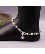 Vintage design Handcrafted 925 sterling silver anklet feet beads bracele... - $108.89