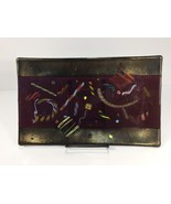 "Kurt McVay 7"" x 12"" Art Glass Platter Dark Latticino - $49.99"