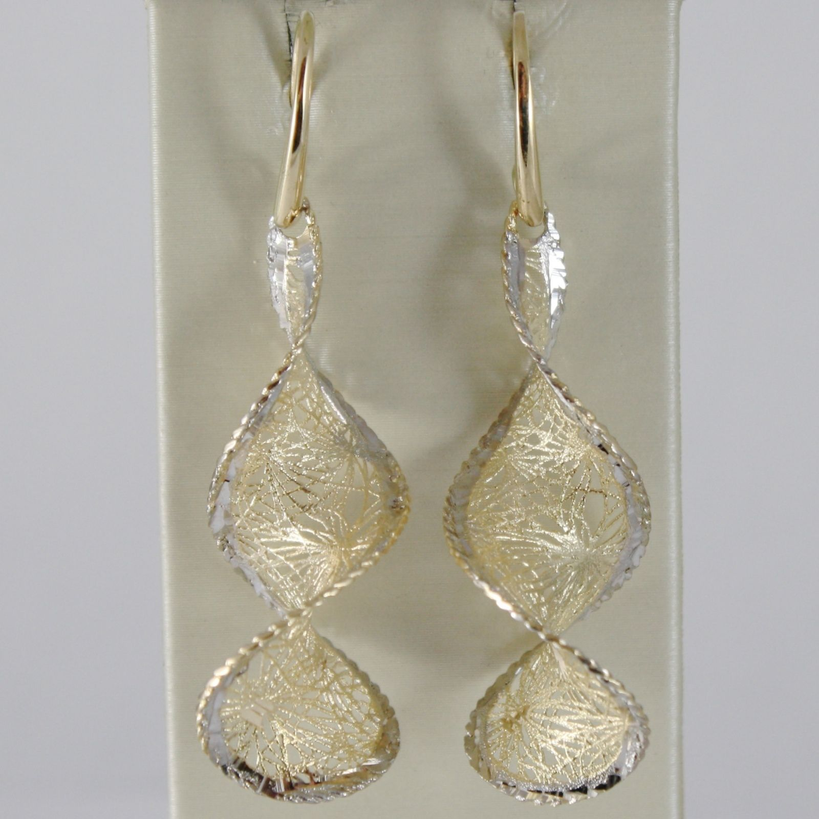 18K YELLOW WHITE GOLD PENDANT EARRINGS FINELY WORKED TWISTED SPIRAL MADE ITALY