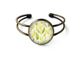 Yellow Watercolor Flowers Cuff Bracelet - $19.95
