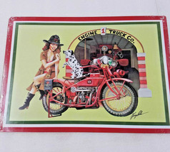 Fire department fighter pinup girl motorcycle bike firetruck Metal hang up Sign - $44.55