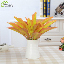 Colorful Fake Leaves Simulation Small Potted Plant Artifical Wall Floral Decor - $2.69