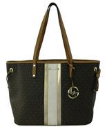 Michael Kors Shopper Tote Bag Brown PVC Logo Monogram Large Handbag - $380.70