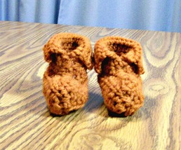 Handmade Crochet Cuffed Baby Booties, Newborn, Infant, Shower Gift, Acce... - $16.00