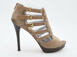 Michael Kors Womens 8.5M Beige Suede Triple Buckle Zip Gladiator Heel Sa... - $33.99