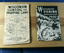 Wisconsin WI Fishing Regulations 1950 & Hunting Trapping Laws 1942/43 Bo... - $14.21