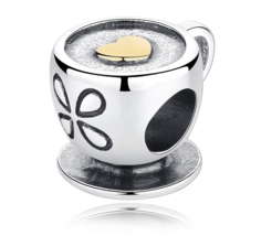 New Authentic 925 Sterling Silver Bead Charm Love Cappuccino Coffee Charms - $17.99