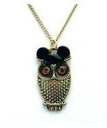 Disney Burnished Gold Owl Mickey Mouse Ears Pendant Necklace - $14.84