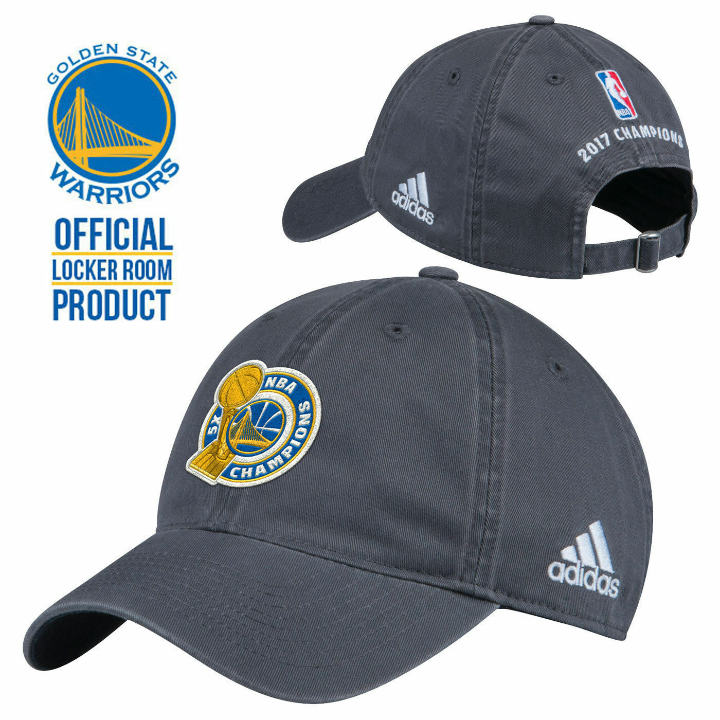 Primary image for NBA Golden State Warriors Adidas 2017 Basketball Champions Slouch Cap Dad Hat