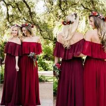 Burgundy Chiffon Formal Prom Dress A Line Wedding Bridesmaid Dress Plus ... - $88.99