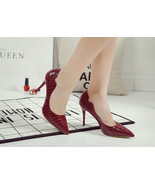 534s041 Sexy European style snakeskin pattern stiletto pumps 34-39, burgundy - $42.00