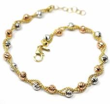18K YELLOW WHITE ROSE GOLD BRACELET, BRAIDED BASKET LINK, DIAMOND CUT BALLS image 1