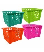 Plastic Storage Bins Pack of 4 GreenTeal Pink Orange/Red Organizer Schoo... - £18.45 GBP