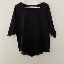Soft Surroundings M Medium Siesta Key Top Layered Look Shirt Top Black - $23.03