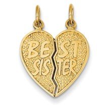 14k Yellow Gold Polished Best Sister Break-apart Charm Pendant for Necklace - $112.13