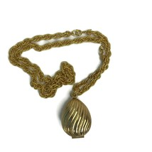 Vintage Avon Necklace Solid Perfume Compact Goldtone Egg Shaped Swirled ... - $12.62