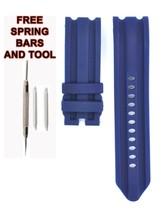 Compatible Nautica N14601G 24mm Bleu Plongeur Caoutchouc Bracelet Montre... - $22.84