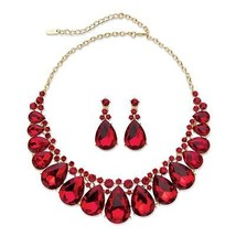 """Pear-Cut Gold Tone Red Crystal 2-Pc. Drop Earring and Necklace Set 16""""-18.5"""" - $39.99"""