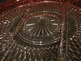 Ruby Flash Diamond Point Divided Platter / Indiana Glass Ruby & Clear Di... - $14.99