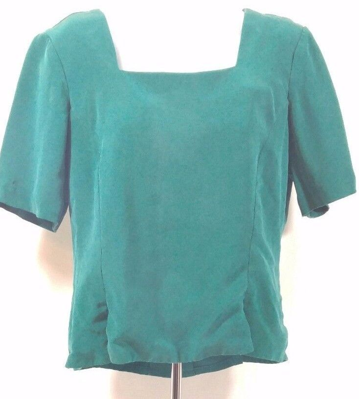 Primary image for Dana Buchman 100% Silk Button Down Back Blouse Short Sleeve Green Sz-Small (C5)