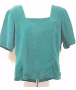 Dana Buchman 100% Silk Button Down Back Blouse Short Sleeve Green Sz-Sma... - $21.49