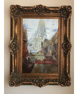 Wall Canvas Oil Painting With Crown Antique Gold Frame - Garden - $4,949.99