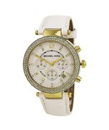 Michael Kors MK2290 Women's 'Parker' Chronograph Crystal White Leather Watch - £55.90 GBP