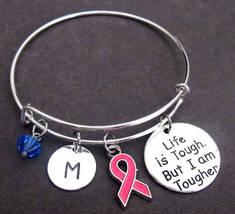 Breast Cancer Awareness Bangle Bracelet,Breast Cancer Survivor Jewelry Set  - $16.40