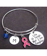 Breast Cancer Awareness Bangle Bracelet,Breast Cancer Survivor Jewelry Set  - $16.40
